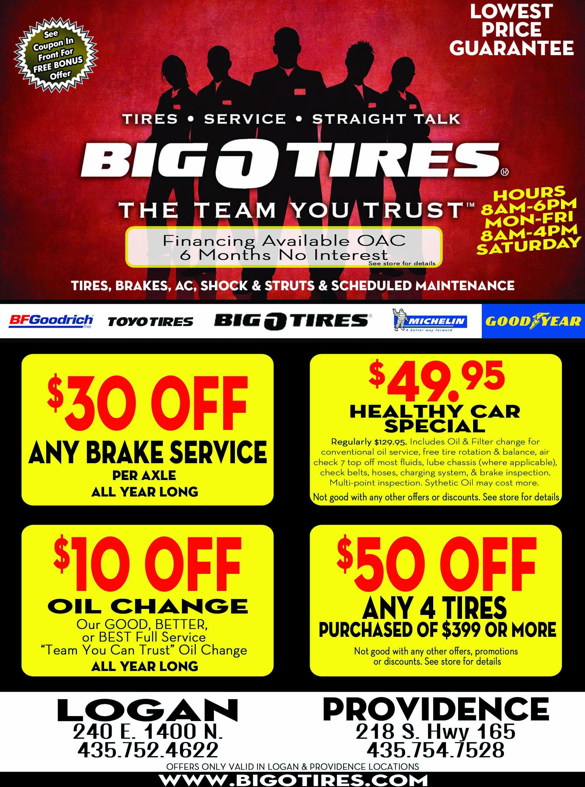 Big O Tires Cache Valley Savings Guide