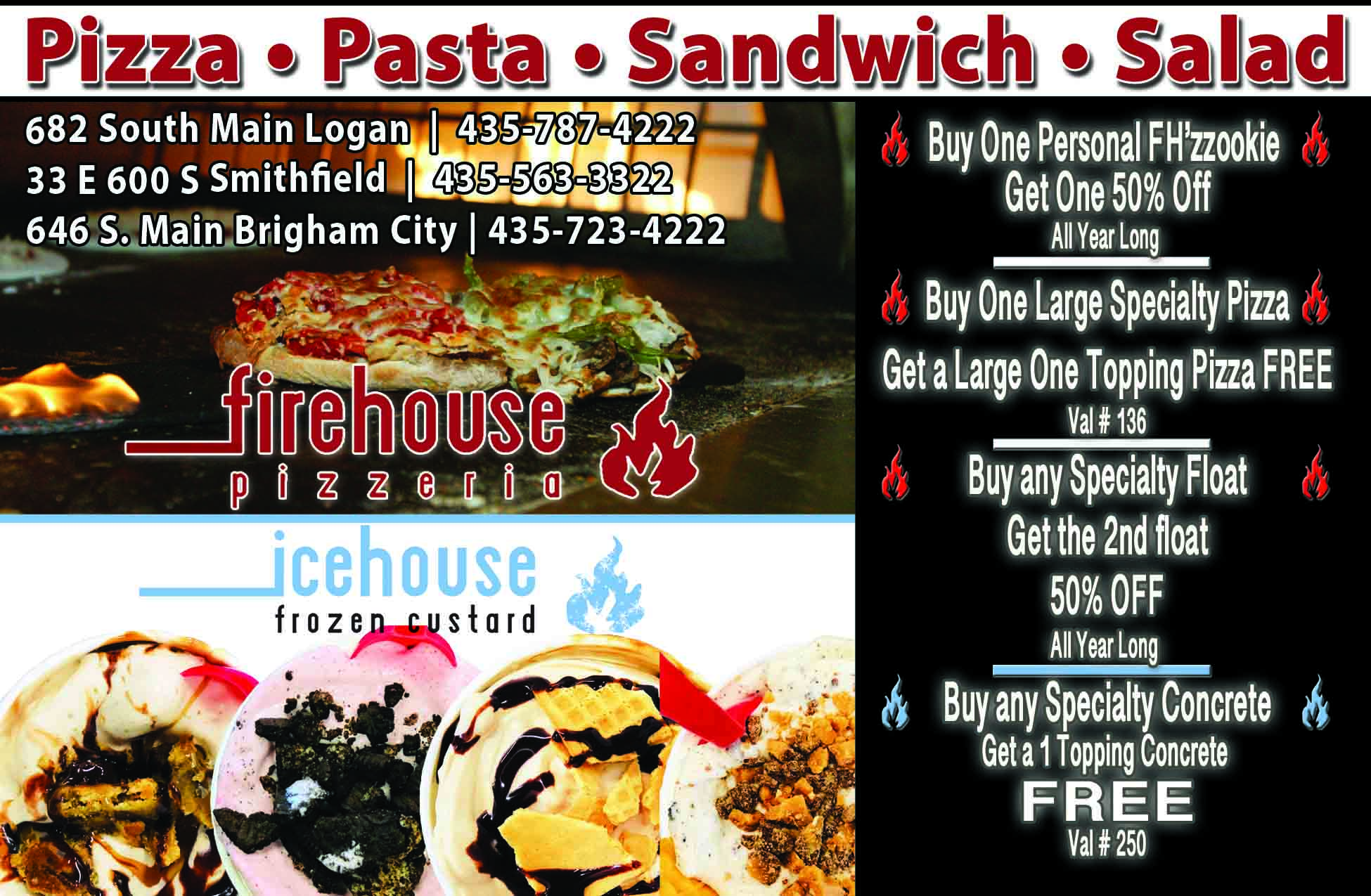 Firehouse Pizzeria Logan Utah Icehouse Frozen Custard